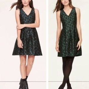 LOFT Dark Green Animal Print V Neck Dress